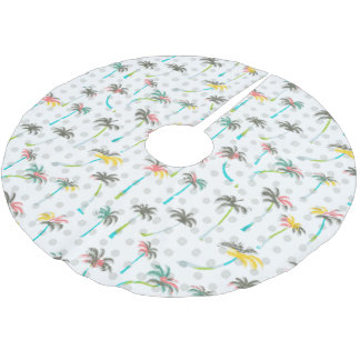 Watercolor Palm Trees Brushed Polyester Tree Skirt