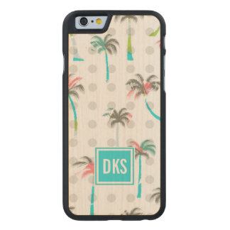 Watercolor Palm Trees | Monogram Carved® Maple iPhone 6 Slim Case