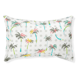 Watercolor Palm Trees Small Dog Bed