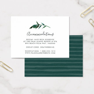 Watercolor Palm Wedding Hotel Accommodation Cards