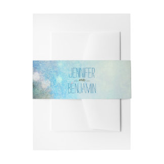 watercolor palms wedding invitation belly band
