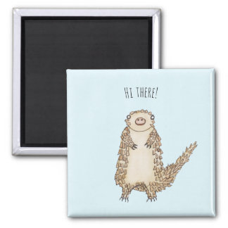 Watercolor Pangolin Illustration Square Magnet