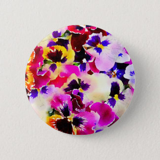 Watercolor Pansies 2 Inch Round Button