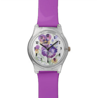 WATERCOLOR PANSIES WRIST WATCHES