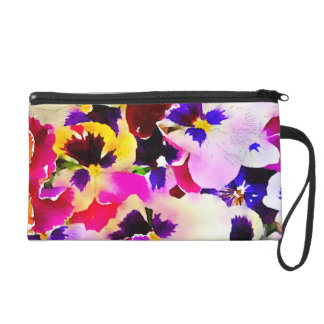 Watercolor Pansies Wristlet Clutches