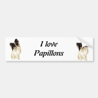 Watercolor Papillon Dog, Pet Bumper Sticker