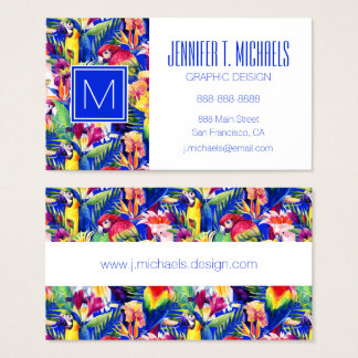 Watercolor Parrots | Add Your Name Business Card
