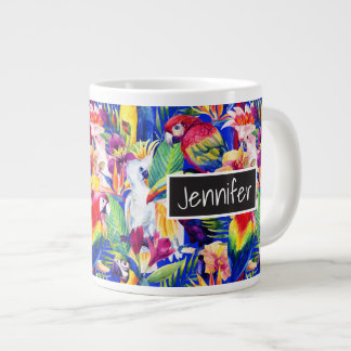 Watercolor Parrots | Add Your Name Large Coffee Mug