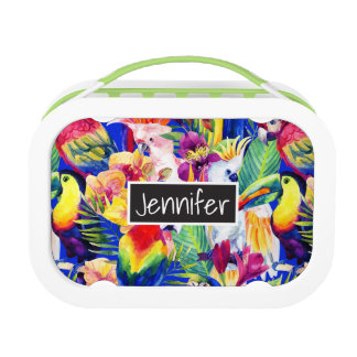 Watercolor Parrots | Add Your Name Lunchbox