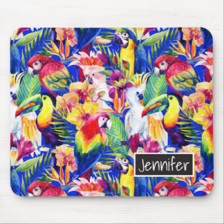 Watercolor Parrots | Add Your Name Mouse Pad