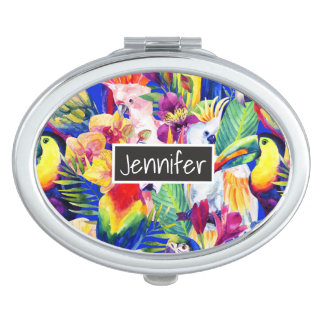Watercolor Parrots   Add Your Name Vanity Mirrors