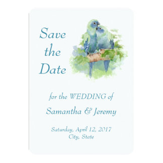 "Watercolor Parrots  Blue Green Save the Date 5"" X 7"" Invitation Card"