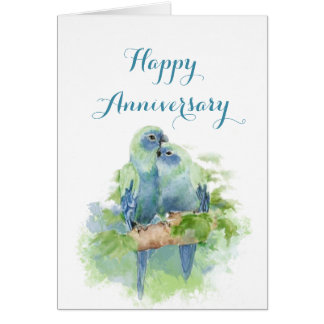 Watercolor Parrots Christian Anniversary Love Card