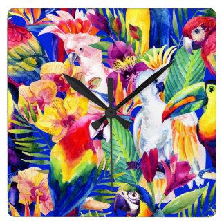Watercolor Parrots Clock
