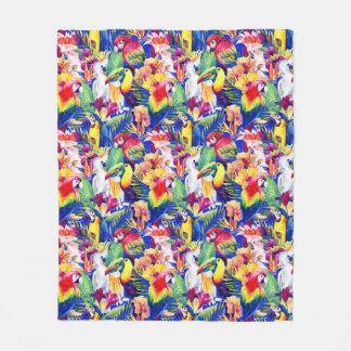 Watercolor Parrots Fleece Blanket