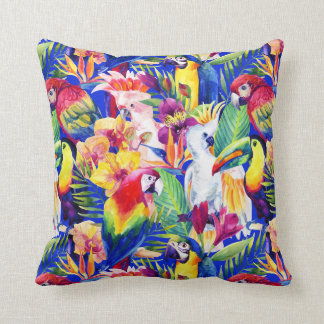 Watercolor Parrots Throw Pillow