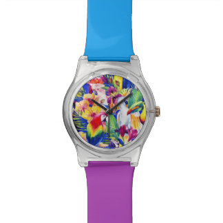 Watercolor Parrots Wristwatches