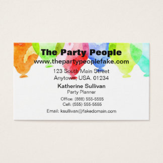 Watercolor Party Balloons Party Planner Business Card