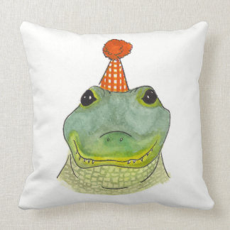 Watercolor Party Gator Pillow
