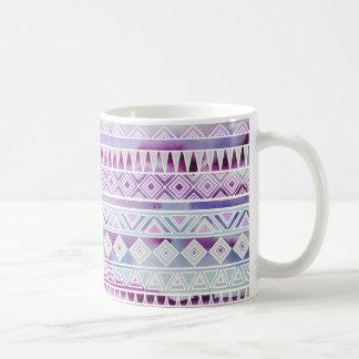 Watercolor Pastel Aztec Inspired Pattern Basic White Mug