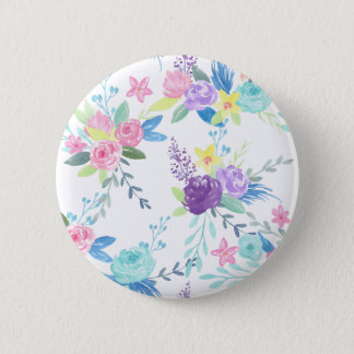 Watercolor pastel color floral pattern 2 inch round button