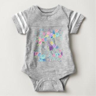 Watercolor pastel color floral pattern baby bodysuit