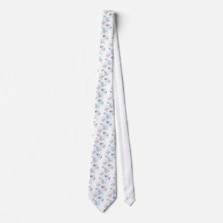 Watercolor pastel color floral pattern tie