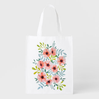 Watercolor Pastel Pink Watercolor Illustration Reusable Grocery Bag