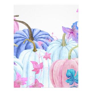 Watercolor pastel pumpkin and floral frame letterhead