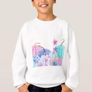 Watercolor Pastel pumpkin and floral frame Sweatshirt