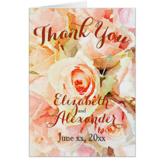 Watercolor Pastel Roses Thank You Card