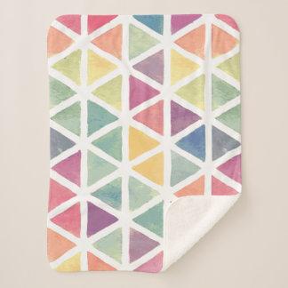 Watercolor Pastel Triangle Pattern Sherpa Blanket