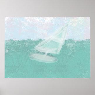 Watercolor Pastels Windsurf Sea Dawn Poster