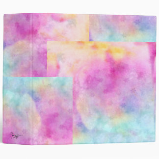 Watercolor Patches - Pink Blue Yellow Vinyl Binder