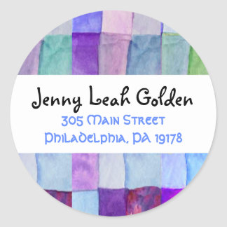 WATERCOLOR PATCHWORK TREE Round Sticker Seal