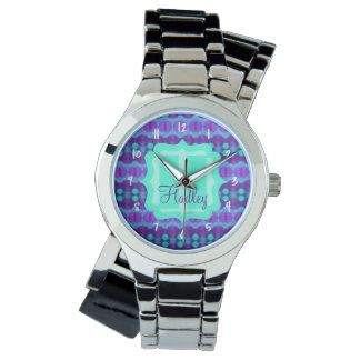 Watercolor Pattern II with Custom Text Watch