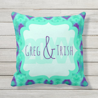 Watercolor Pattern IIII with Custom Text Throw Pillow