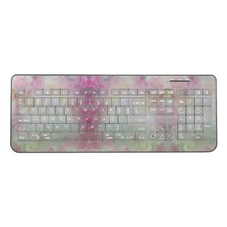 Watercolor Pattern Pastels Lavender Green Pink Wireless Keyboard