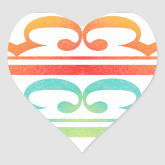 Watercolor Pattern Rainbow - water color sample Heart Sticker