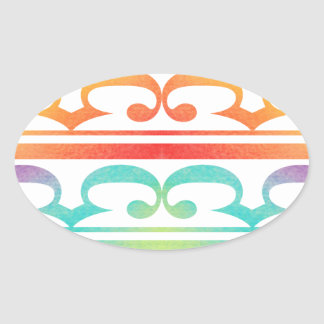 Watercolor Pattern Rainbow - water color sample Oval Sticker