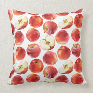 Watercolor pattern with red apples pillow