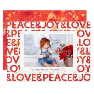 Watercolor Peace Christmas Holiday Photo Card