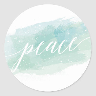 Watercolor Peace Holiday Classic Round Sticker