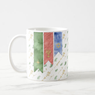 Watercolor Peace on Earth Gold Typography Coffee Mug
