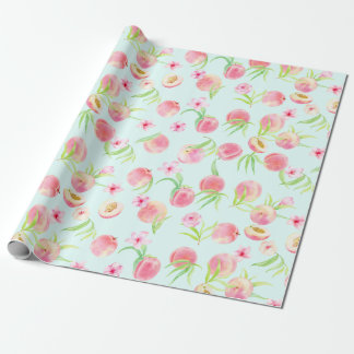 Watercolor peach and flower wrapping paper