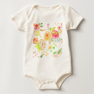 Watercolor peach and gold rose pattern baby bodysuit