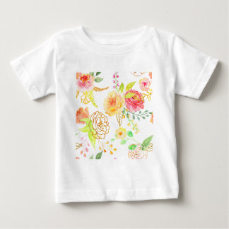 Watercolor peach and gold rose pattern baby T-Shirt