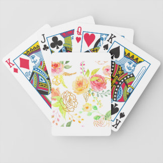Watercolor peach and gold rose pattern bicycle playing cards