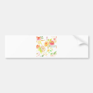 Watercolor peach and gold rose pattern bumper sticker