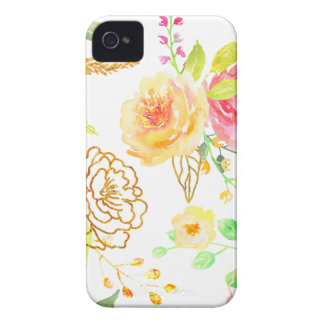 Watercolor peach and gold rose pattern Case-Mate iPhone 4 cases